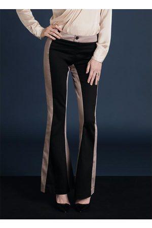 Multimarcas Mulher Calça Flare - Calça Flare Bicolor Preta e Rosê