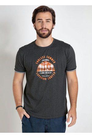 QUEIMA ESTOQUE Homem Manga Curta - Camiseta Mescla Chumbo Verão Califórnia