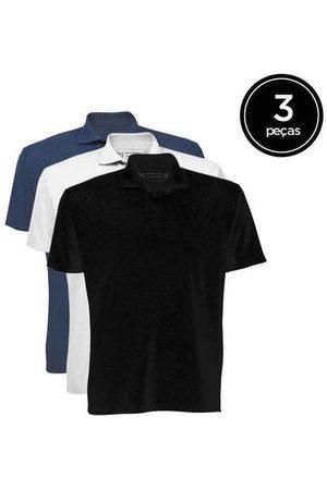 Basicamente Homem Camisa Formal - Kit de 3 Camisas Polo Masculinas de Várias Cores P
