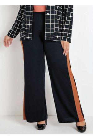 Marguerite Calça Pantalona Preta e Caramelo Plus Size