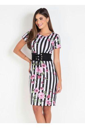 ROSALIE Mulher Vestido Estampado - Vestido Tubinho Floral Barrado Moda Evangélica
