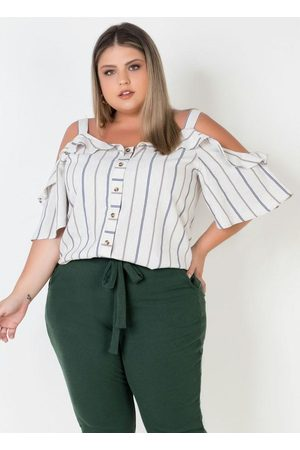 Mink Blusa Ciganinha Plus Size Listrada com Babados