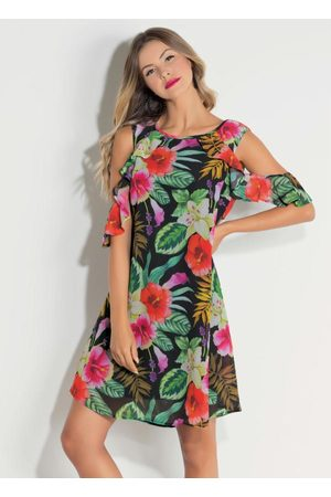 QUEIMA ESTOQUE Mulher Vestido Estampado - Vestido Quintess com Ombros Vazados Floral Dark