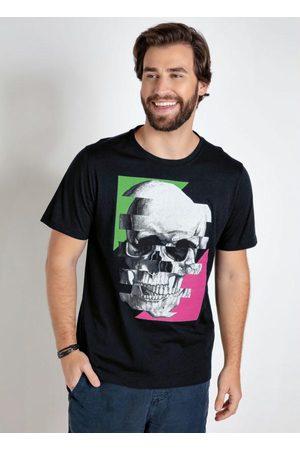 QUEIMA ESTOQUE Camiseta Preta Mangas Curtas Estampa Caveira