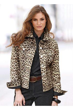 QUEIMA ESTOQUE Mulher Jaqueta Jeans - Jaqueta Jeans Animal Print Estampada Onça Marrom