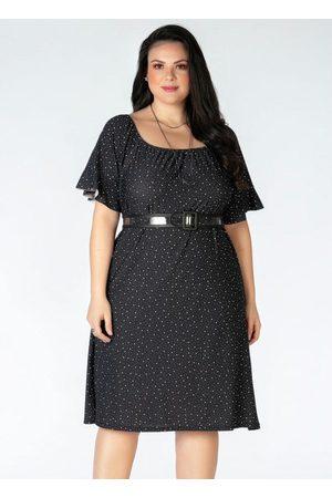Mink Vestido Plus Size em Crepe Poá