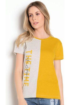 QUEIMA ESTOQUE T-Shirt Bicolor com Estampa Frontal