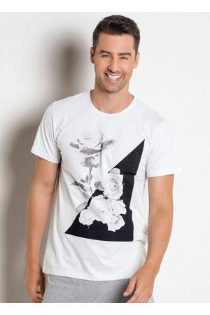 MODA POP Homem Manga Curta - Camiseta Branca com Estampa Rosas