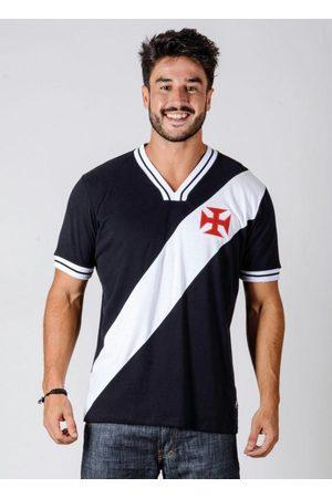 Braziline Homem Manga Curta - Camiseta Vasco 74 Preta e Branca