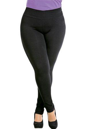 Marguerite Mulher Calça Legging - Calça Legging Preta Plus Size