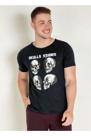 QUEIMA ESTOQUE Homem Manga Curta - Camiseta Preta com Caveiras