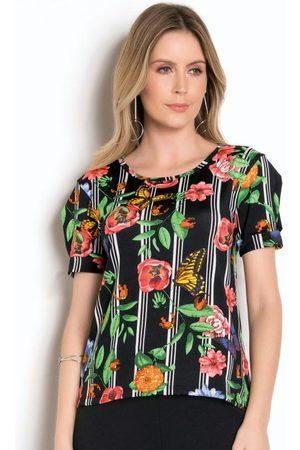 MODA POP Blusa Floral com Listras com Recorte Vazado