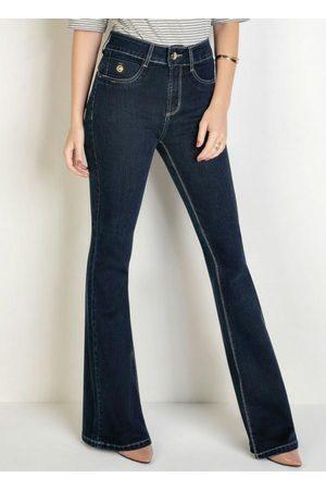 Sawary Jeans Calça Flare Jeans Escuro Detalhe no Bolso Sawary
