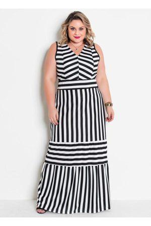 Marguerite Mulher Vestido Estampado - Vestido Longo Listrado Plus Size