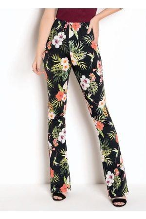 QUEIMA ESTOQUE Mulher Calça Cintura Alta - Calça de Cintura Alta Floral Dark