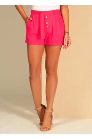 QUINTESS Mulher Short - Shorts com Faixa e Botões Amadeirados