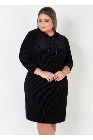 Mink Mulher Vestido Longo - Vestido Plus Size de Veludo com Capuz
