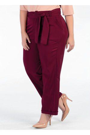 Mink Mulher Calça Cintura Alta - Calça Plus Size Vinho Social com Faixa