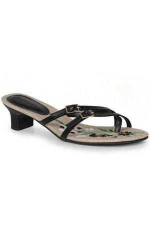 Offline Mulher Sapato Mule - Tamanco Salto Feminino Bordado e Fivela Pr