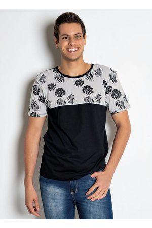 QUEIMA ESTOQUE Homem Manga Curta - Camiseta Tropical Preta