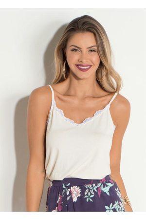 QUINTESS Mulher Blusa - Blusa de Alças Off White em Malha