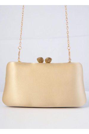 QUINTESS Mulher Bolsa Clutch - Bolsa Clutch Dourada Forrada em Tecido