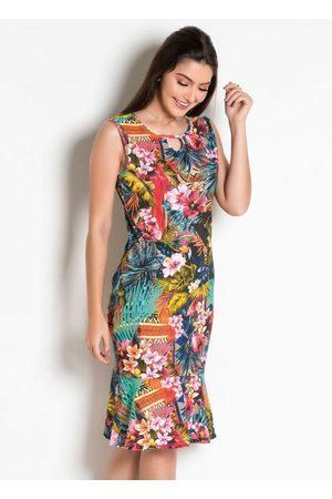 QUEIMA ESTOQUE Mulher Vestido Médio - Vestido Moda Evangélica com Gota Tropical
