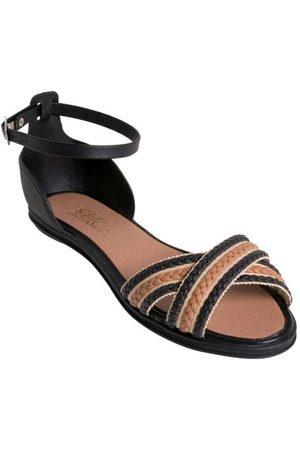 Perfecta Mulher Sandálias - Rasteirinha Preta com Sintético Trançado