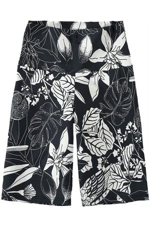 MALWEE LIBERTA Bermuda Preta Power Floral com Silicone