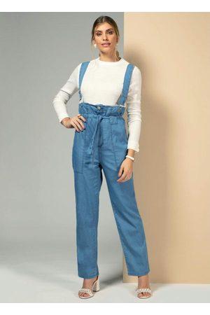 QUINTESS Macacão Jeans com Suspensório