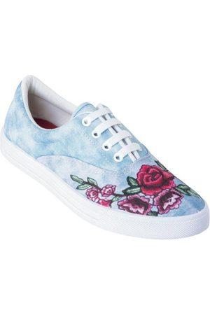 QUEIMA ESTOQUE Mulher Tênis - Tênis Jeans Claro com Estampa Floral
