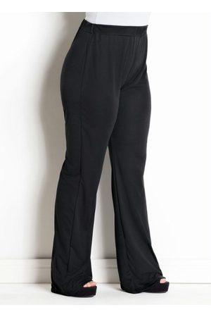 Marguerite Mulher Calça Flare - Calça Flare Preta Plus Size