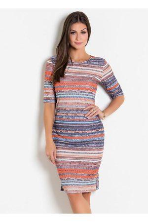 QUEIMA ESTOQUE Mulher Vestido Estampado - Vestido com Fenda Estampado Moda Evangélica