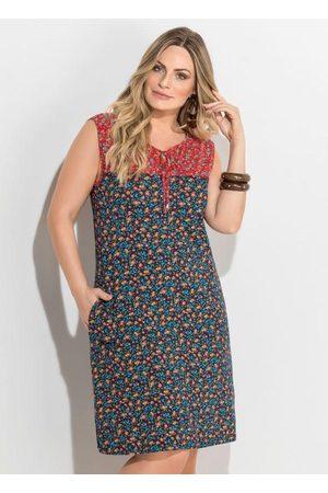 QUINTESS Mulher Vestido Estampado - Vestido Midi Floral Mini com Bolsos Plus Size