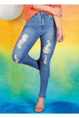 Sawary Jeans Mulher Calça Legging - Calça Jeans Legging Super Lipo Destroyed Sawary