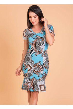 ROSALIE Mulher Vestido Médio - Vestido Arabescos Moda Evangélica com Babado