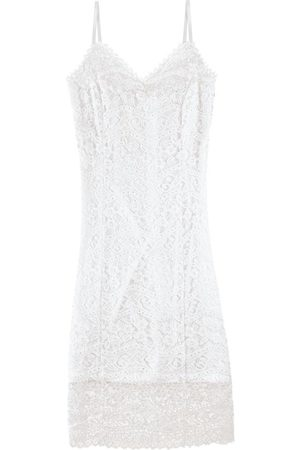 Malwee Mulher Vestido Médio - Vestido Branca Mídi em Renda