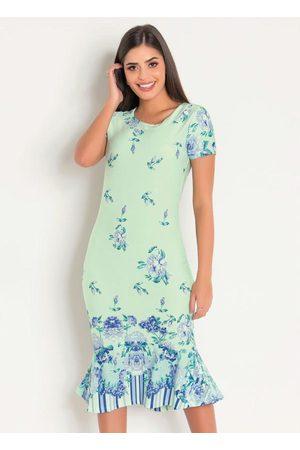 QUEIMA ESTOQUE Mulher Vestido Estampado - Vestido Floral Barrado Moda Evangélica