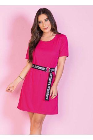 QUEIMA ESTOQUE Vestido Pink com Faixa Decorada para Amarrar