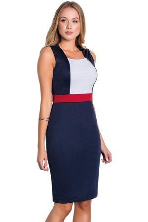 ROSALIE Vestido Tubinho Tricolor Moda Evangélica