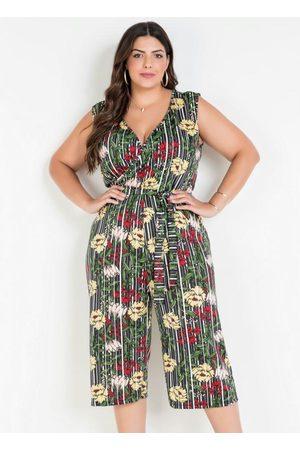 Marguerite Macacão com Amarração Listras Floral Plus Size