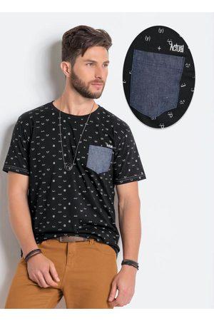 QUEIMA ESTOQUE Camiseta Preta em Algodão com Estampa