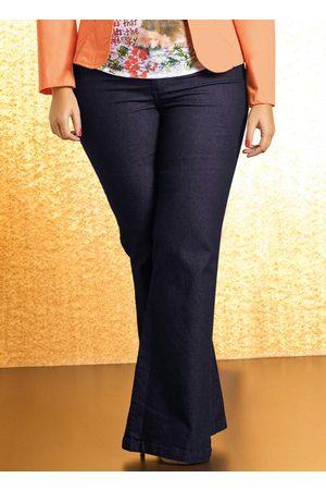 QUINTESS Mulher Calça Flare - Calça Flare Plus Size Jeans