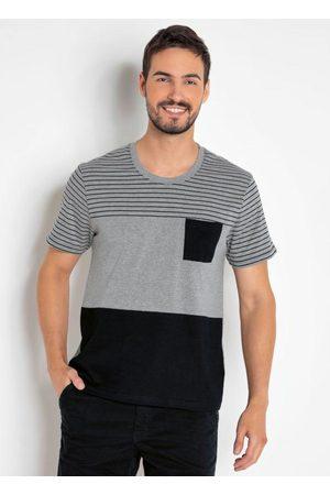 MODA POP Camiseta Masculina Mescla com Bolso e Recortes