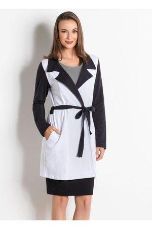QUEIMA ESTOQUE Mulher Trench Coat - Sobretudo Bicolor e Branco Moda Evangélica