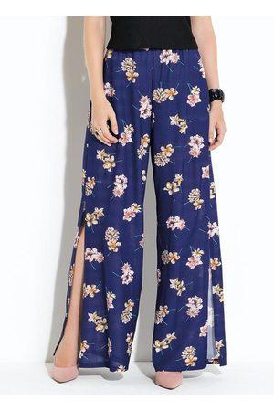 QUINTESS Calça Pantalona com Fendas Floral