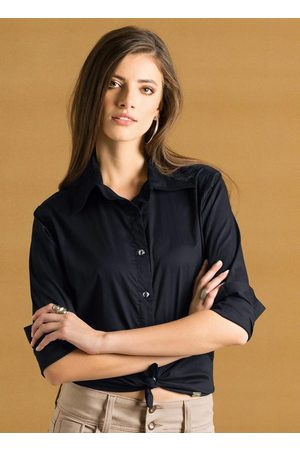 QUINTESS Mulher Camisa Casual - Camisa Clássica Preta