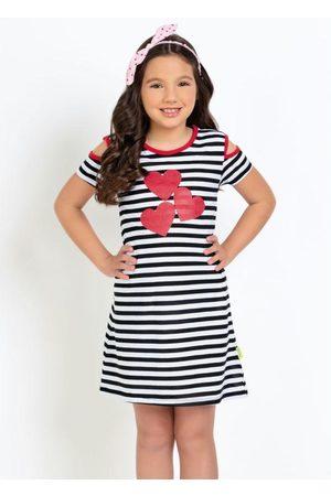 QUEIMA ESTOQUE Menina Vestido Estampado - Vestido Infantil Corações Glitter Listrado