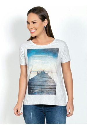 MODA POP Mulher Camiseta - T-Shirt com Estampa Frontal Mescla Off