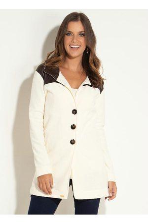 QUINTESS Mulher Trench Coat - Sobretudo Off White com Recortes